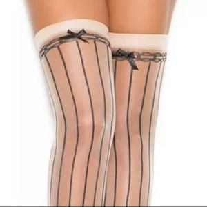 Accessories - Black nude bow pinstriped backseam stockings thigh